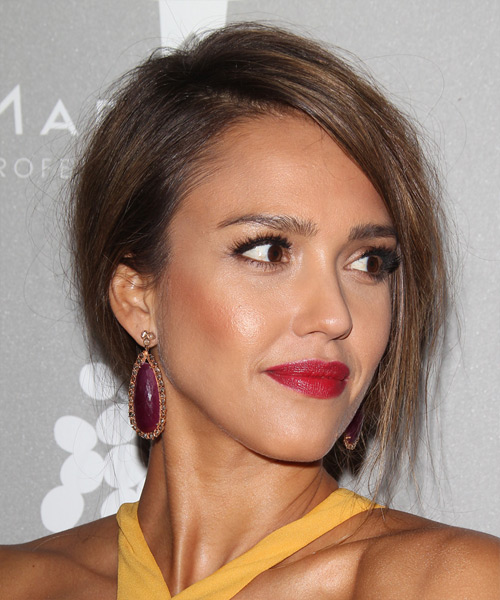 Jessica Alba Long Straight Formal Wedding Updo Hairstyle   - Medium Brunette - Side View