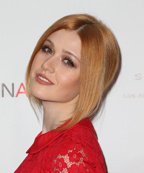 Katherine McNamara Long Straight Formal   Updo Hairstyle   - Light Copper Red Hair Color - Side View