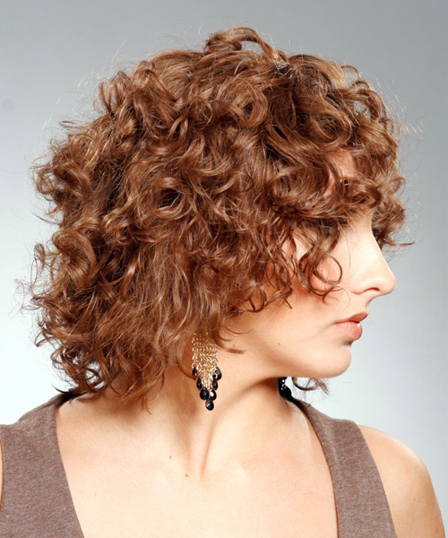 Medium Curly Casual   Hairstyle   - Light Brunette - Side View