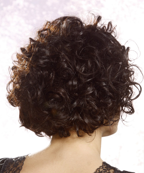 Short Curly Casual Hairstyle Asymmetrical Bangs Black