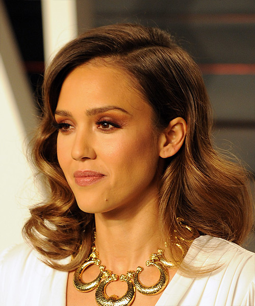 Jessica Alba Medium Wavy Formal   Hairstyle   - Medium Brunette (Caramel) - Side View