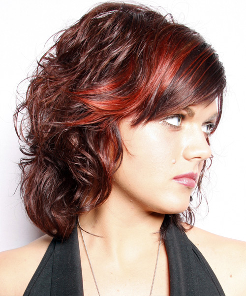 Medium Wavy Casual   Hairstyle with Side Swept Bangs  - Dark Red - Side View