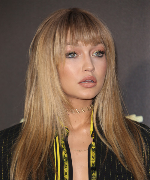 Gigi Hadid Long Straight   Dark Honey Blonde Shag  Hairstyle with Blunt Cut Bangs  - Side View
