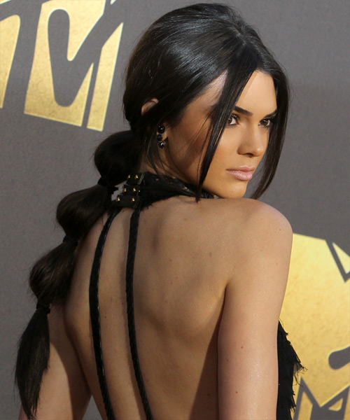 Kendall Jenner  Long Straight   Black   Updo    - Side View