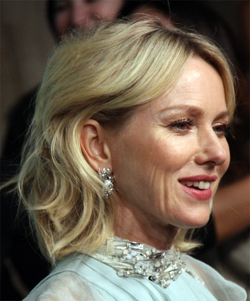 Naomi Watts Medium Wavy Formal Bob  Hairstyle with Side Swept Bangs  - Light Blonde (Ash) - Side View