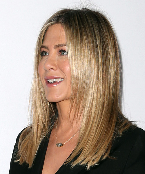 Jennifer Aniston Long Straight    Ash Blonde   Hairstyle   - Side View