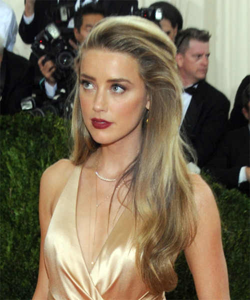 Amber Heard Long Straight Formal   Hairstyle   - Dark Blonde (Golden) - Side View