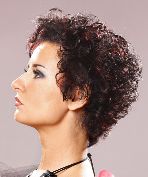 Short Curly   Dark Brunette   Hairstyle   with  Red Highlights - Side View