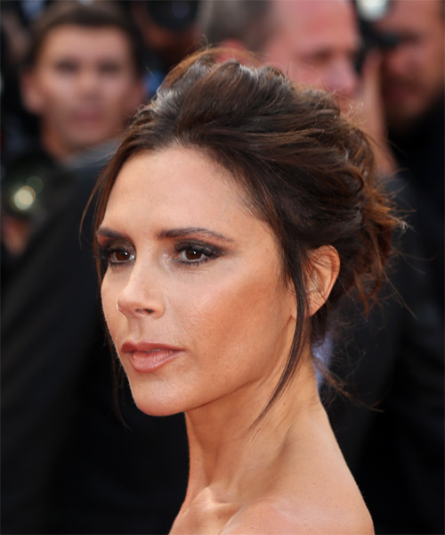 Victoria Beckham Long Straight   Dark Brunette  Updo    - Side View