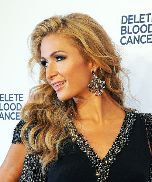 Paris Hilton Long Wavy Formal   Hairstyle   - Medium Blonde (Honey) - Side View