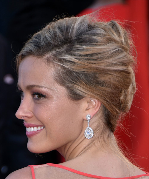 Petra Nemcova Long Straight Formal Wedding Updo Hairstyle   - Medium Blonde - Side View