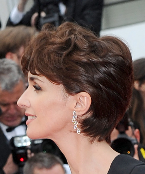 Paz Vega      Chocolate Brunette Pixie  Cut with Layered Bangs  - Side View
