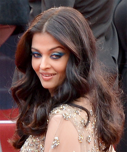 Aishwarya Rai Long Wavy Formal    Hairstyle   - Black  Hair Color - Side View