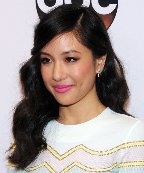 Constance Wu Long Wavy Casual   Hairstyle with Side Swept Bangs  - Black - Side View