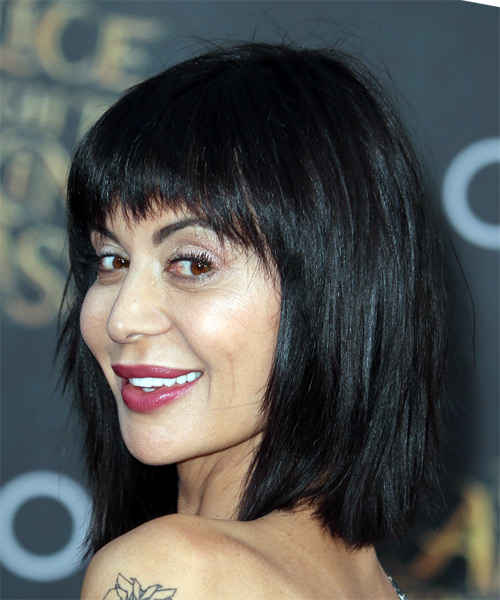 Catherine Bell Medium Straight Formal Bob  Hairstyle with Razor Cut Bangs  - Black - Side View