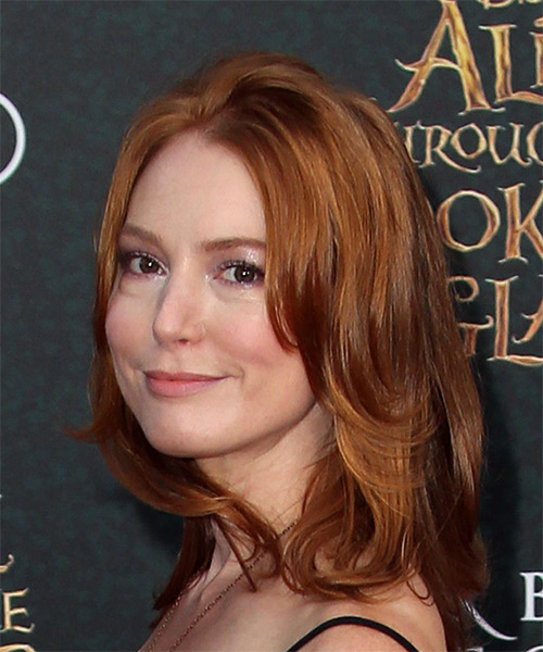 Alicia Witt Medium Straight Casual   Hairstyle   - Medium Red (Copper) - Side View