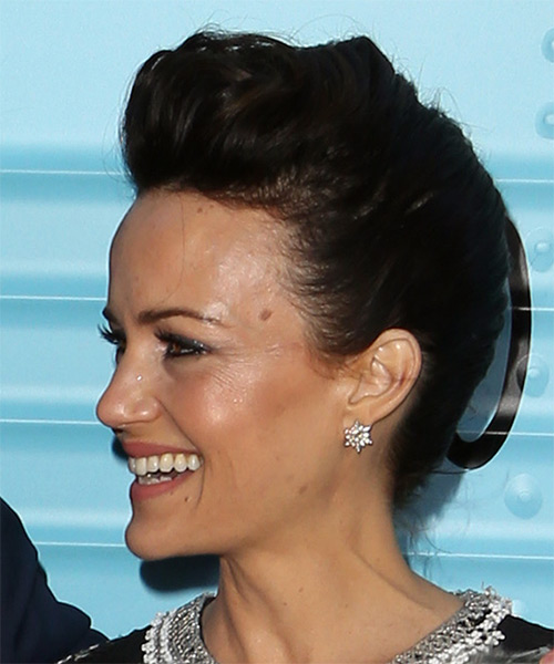 Carla Gugino Short Straight Casual Wedding Updo Hairstyle   - Black - Side View