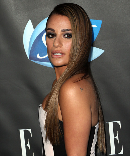 Lea Michele Long Straight Formal   Hairstyle   - Dark Blonde - Side View