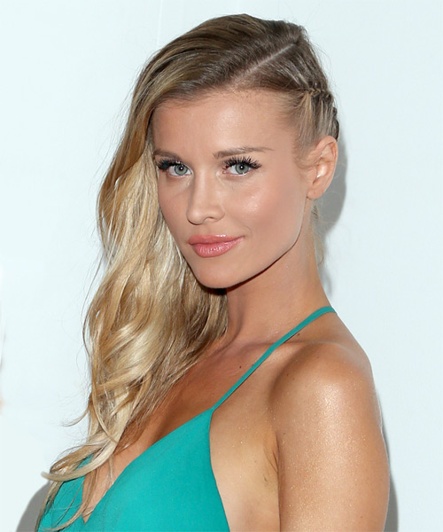 Joanna Krupa Long Wavy Formal    Hairstyle   - Light Honey Blonde Hair Color - Side View