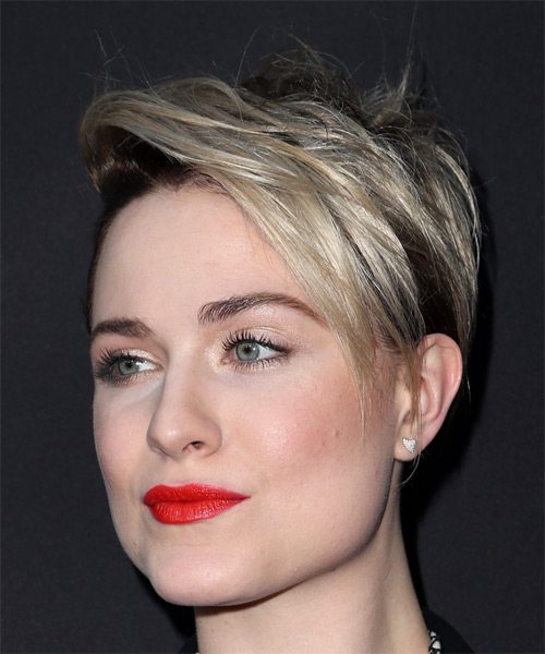 Evan Rachel Wood     Dark Brunette and Light Blonde Two-Tone Pixie  Cut with Side Swept Bangs  - Side View