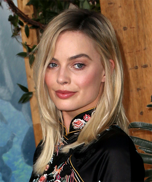 Margot Robbie Medium Straight Formal   Hairstyle   - Light Blonde - Side View