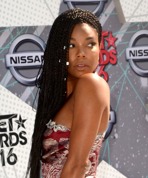 Gabrielle Union Long Curly Casual Braided  Hairstyle   - Black - Side View