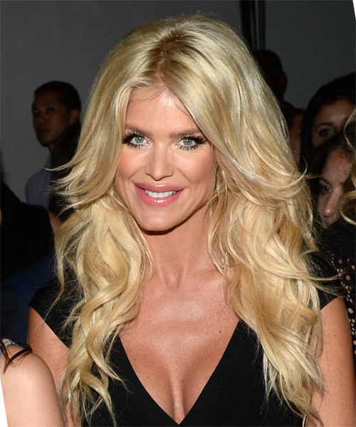 Victoria Silvstedt Long Wavy Formal   Hairstyle   - Light Blonde (Golden) - Side View