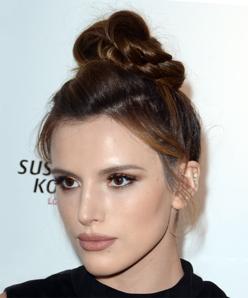 Bella Thorne Long Straight   Dark Red  Updo    - Side View