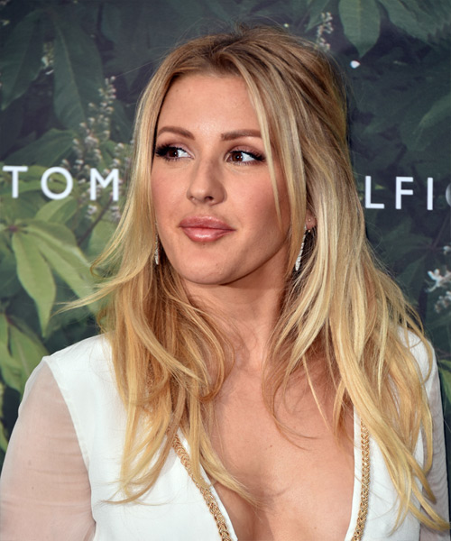 Ellie Goulding Long Wavy Casual   Hairstyle   - Medium Blonde - Side View