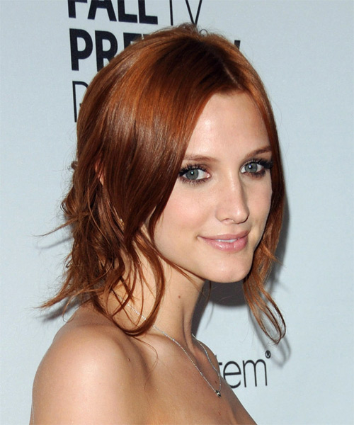 Ashlee Simpson  Long Straight Casual   Half Up Hairstyle   - Side View