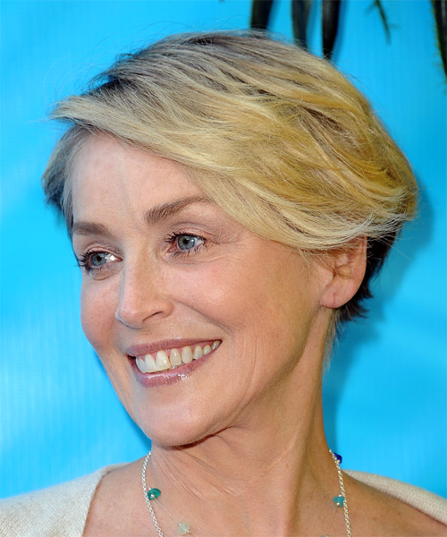 Sharon Stone Short Straight Casual Asymmetrical  Hairstyle with Side Swept Bangs  - Light Blonde - Side View