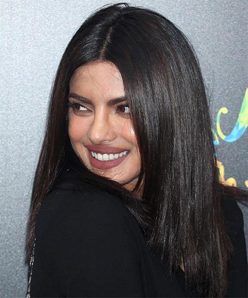 Priyanka Chopra Long Straight   Black  Bob  Haircut   - Side View