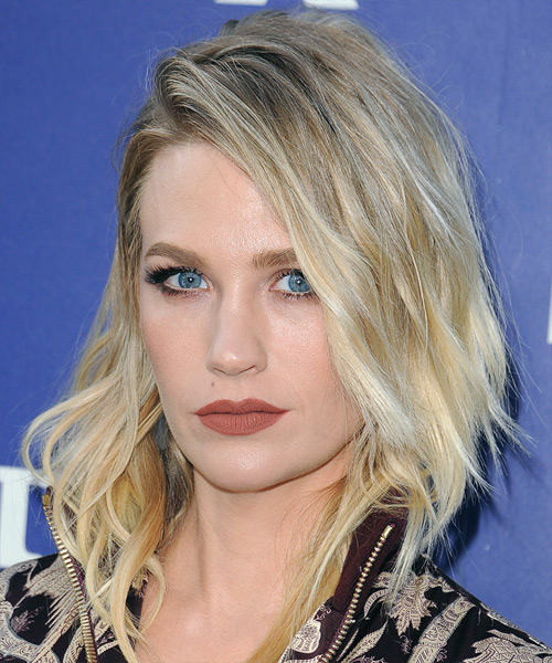 January Jones Medium Wavy Casual Bob  Hairstyle   - Light Blonde - Side View
