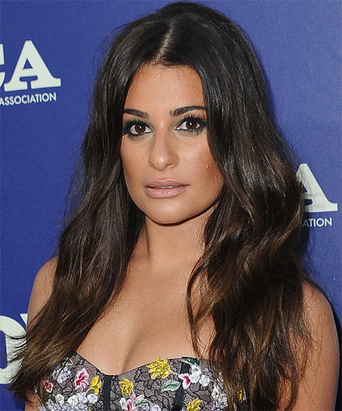 Lea Michele Long Wavy Formal    Hairstyle   - Dark Brunette Hair Color - Side View