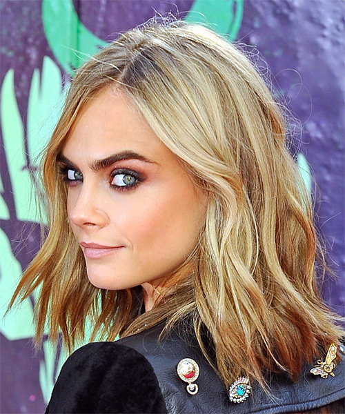 Cara Delevingne Medium Wavy Casual  Bob  Hairstyle   - Light Blonde Hair Color - Side View