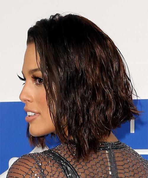 Ashley Graham Medium Wavy Casual Bob  Hairstyle   - Dark Brunette (Chocolate) - Side View