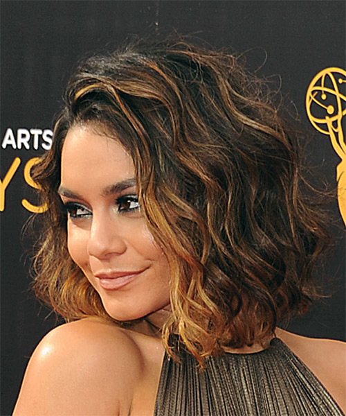 Vanessa Hudgens Medium Wavy    Brunette Bob  Haircut   with Light Red Highlights - Side View
