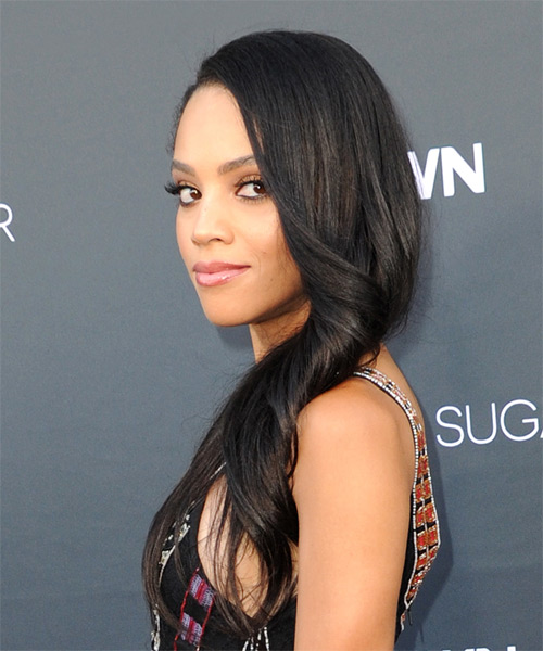 Bianca Lawson Long Wavy Formal   Hairstyle   - Black - Side View