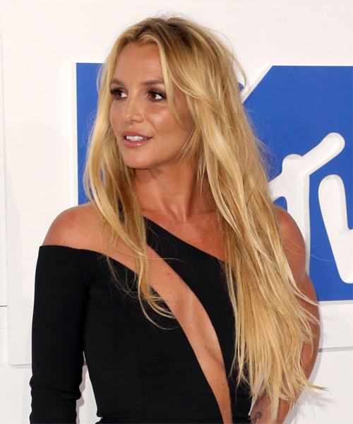 Britney Spears Long Straight   Light Blonde   Hairstyle   - Side View