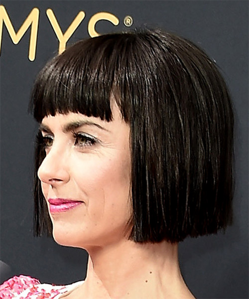 Constance Zimmer Short Straight   Black  Bob  Haircut with Blunt Cut Bangs  - Side View