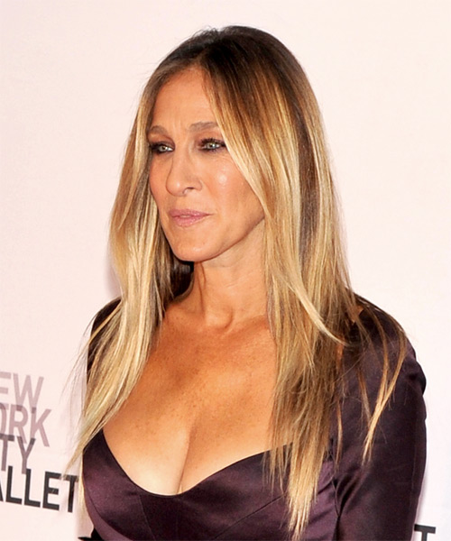Sarah Jessica Parker Long Straight Formal    Hairstyle   -  Blonde and Light Blonde Two-Tone Hair Color - Side View