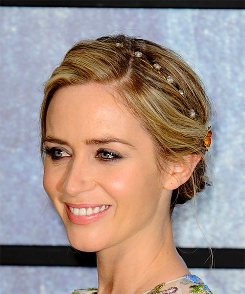 Emily Blunt Medium Wavy Casual Wedding Updo Hairstyle   - Medium Blonde - Side View