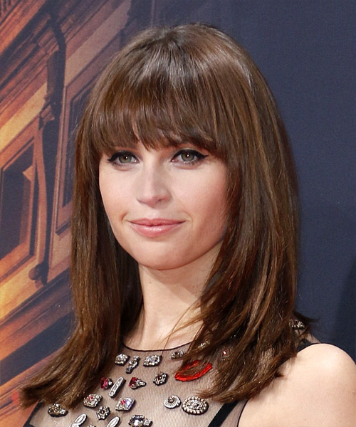 Felicity Jones Long Straight Formal   Hairstyle with Blunt Cut Bangs  - Medium Brunette - Side View