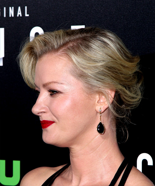 Gretchen Mol Medium Wavy Casual   Updo Hairstyle   - Light Platinum Blonde Hair Color - Side View