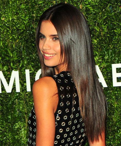 Sara Sampaio Long Straight Formal   Hairstyle   - Dark Brunette (Chocolate) - Side View