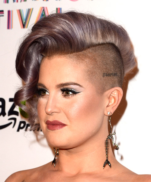 Kelly Osbourne Short Wavy Alternative Asymmetrical  Hairstyle   - Purple - Side View