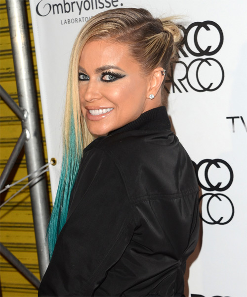 Carmen Electra Long Straight Casual    Hairstyle   - Light Blonde and Blue Two-Tone Hair Color - Side View