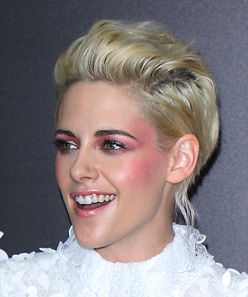Kristen Stewart Short Wavy   Light Blonde   Hairstyle   - Side View