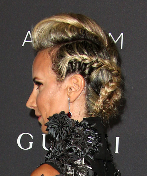 Victoria Hervey Long Wavy Formal  Updo Hairstyle   - Light Blonde - Side View