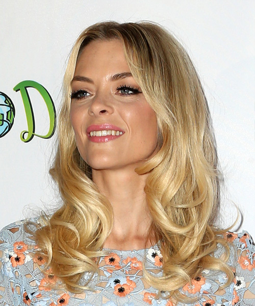 Jaime King Long Wavy Casual   Hairstyle   - Medium Blonde - Side View